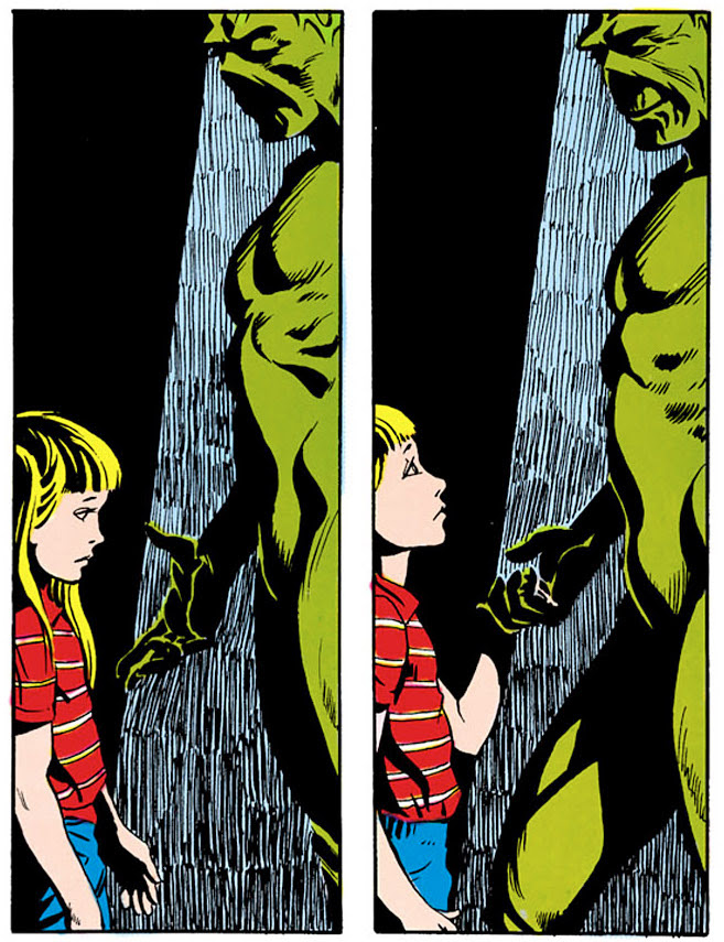 Swamp Thing and Karen, the act of kindness that nearly brought on the apocalypse.