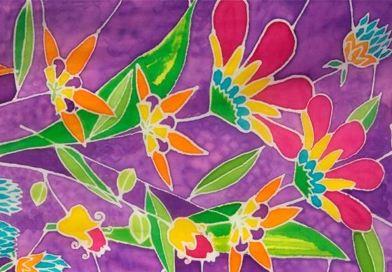 tela de seda pintada a mano moderna de Adriana Mederos