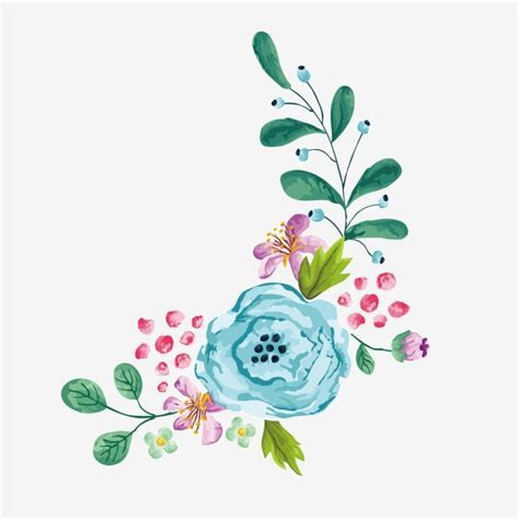 Vector Cartoon Watercolor Hand Painted Floral Border