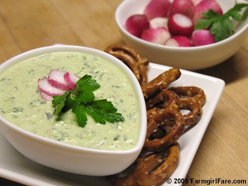 Radish Cream Cheese Dip with Parsley, Scallions, and Feta
