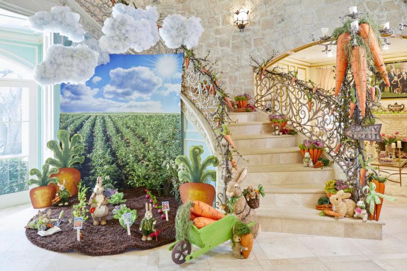 easter, easter decor, carrots, garden, bunny, bunnies, wheelbarrow, clouds, beets, cabbage