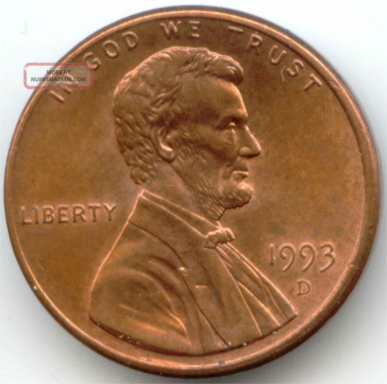 Usa 1993 D American 1 Cent Lincoln Memorial Penny Higher ...