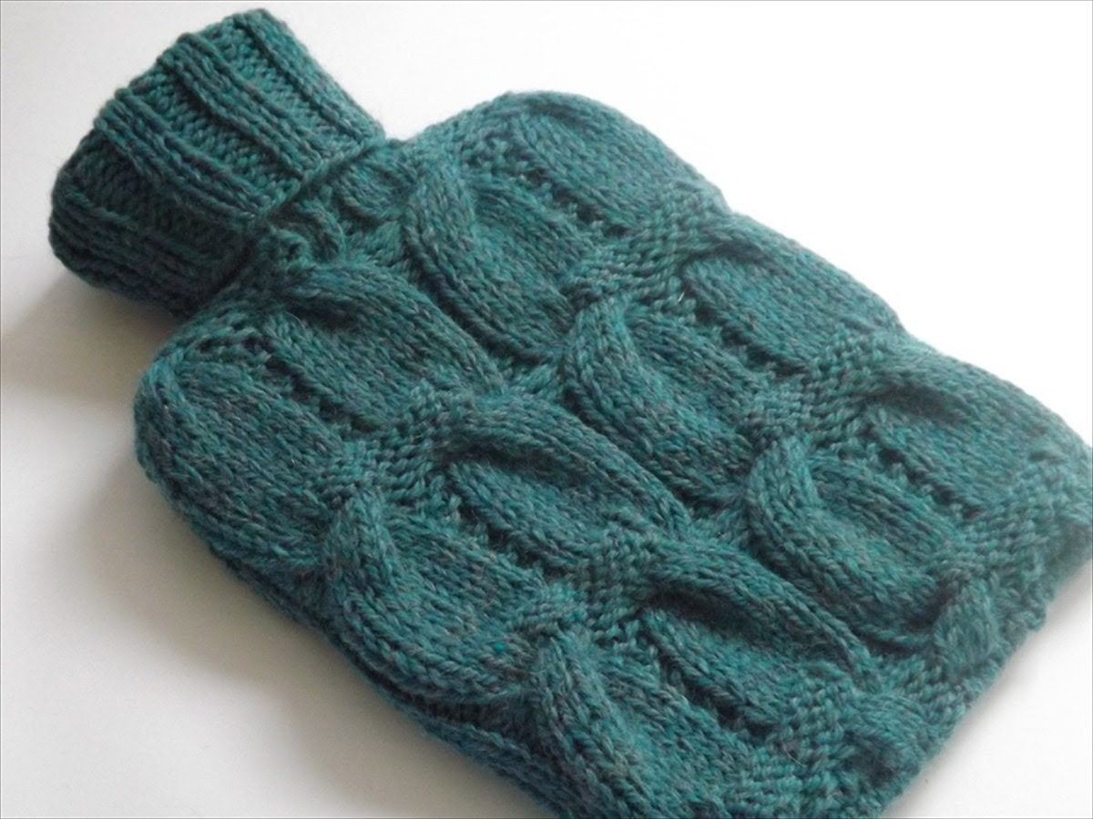 Chunky Cable Knitted Hottie Cover in Teal Alpaca-Knit to Order - KnitKnacksbySharon