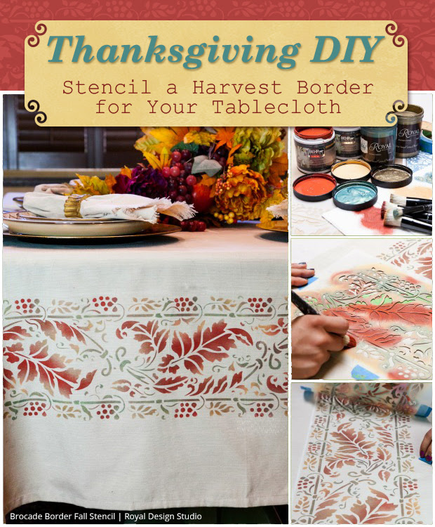Thanksgiving Diy Stencil A Harvest Border For Your Table Cloth