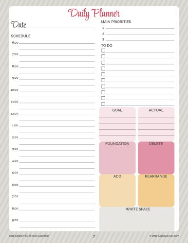 Edited Year Planners, Free Daily Planner Schedule printable ...