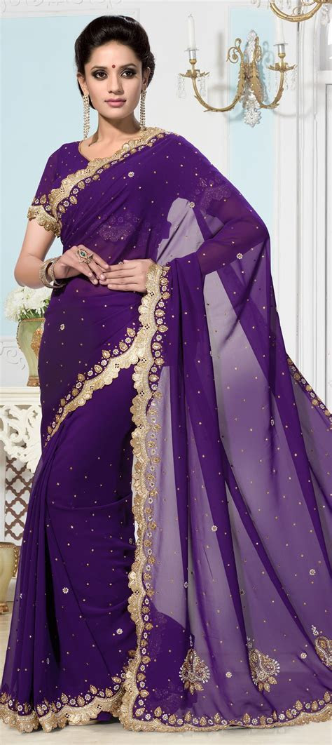 Faux Georgette Bridal Saree in Purple and Violet with Cut