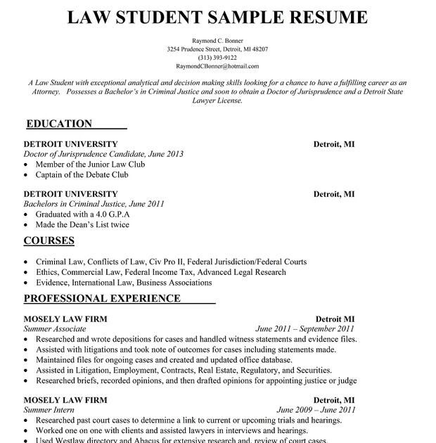 Resume Format: Resume Format For Law Students