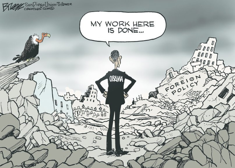 Image result for cartoons obama foreign policy legacy