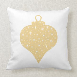 Gold Color Christmas Bauble Design. Throw Pillows