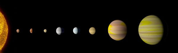 An artist's concept of all eight exoplanets in the Kepler-90 star system.