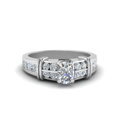 Cushion Cut Bar Channel Set Wide Diamond Engagement Ring