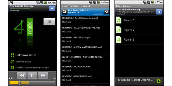 android2 4shared Music for Android v1.01 is now available