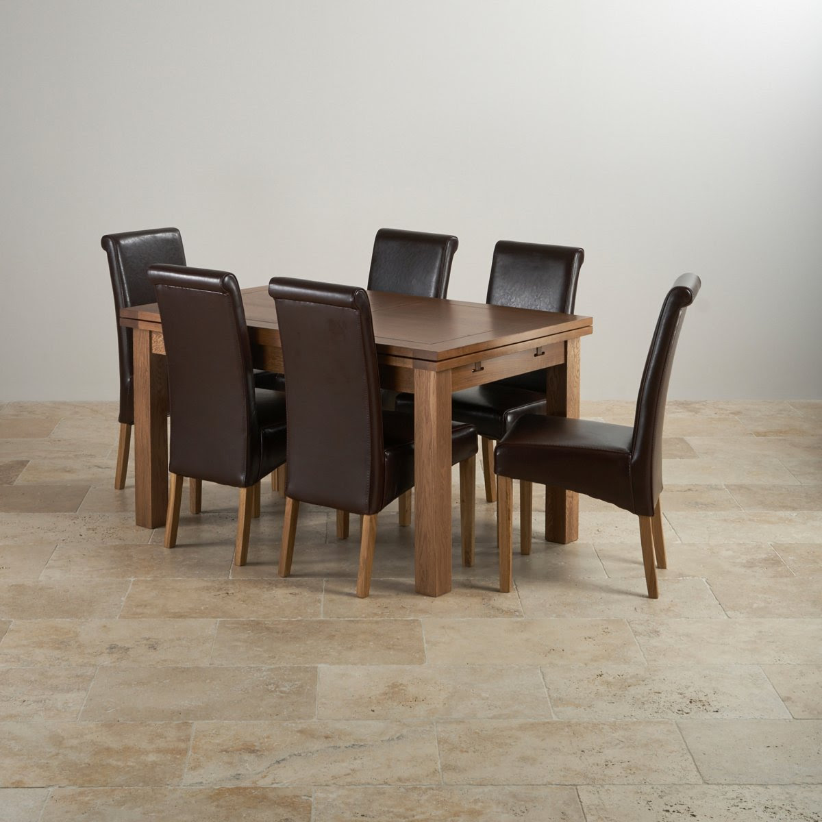 """Rustic Oak Dining Set - 4ft 7"""" Extending Table with 6 Brown"""