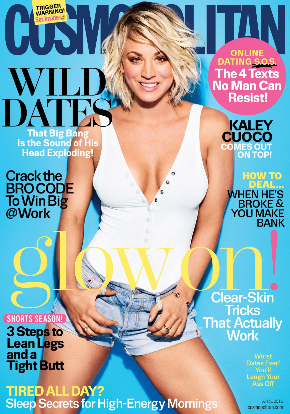 KALEY CUOCO in Cosmopolitan Magazine, April 2016 Issue