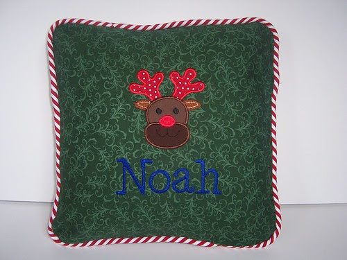 Reindeer applique personalized pillow cover
