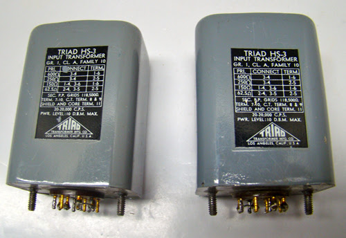 Triad HS-3 audio input transformers for high end audio vacuum tube preamps and recording studios.