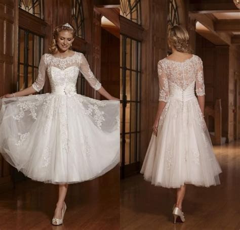 Informal Wedding Dresses 2017 Vintage Tea Length Tulle