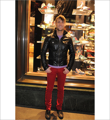 Red Jeans and Leather Jacket, Street fashion Pitt Street Sydney