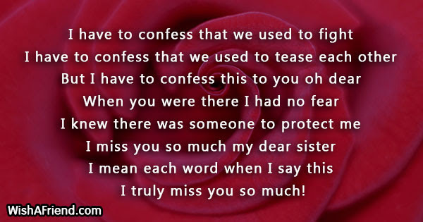 Missing You Messages For Sister