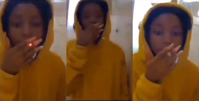 Nigerians react as 15-year-old girl posts video of herself smoking weed