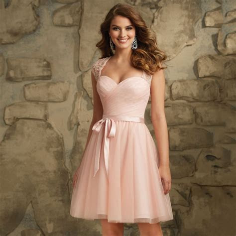 Cap Sleeves Lace Belt Plus Size Knee Length Bridesmaid