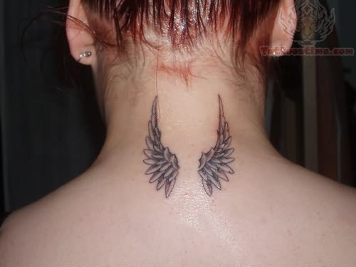 Small Angel Wings Back Neck Tattoo