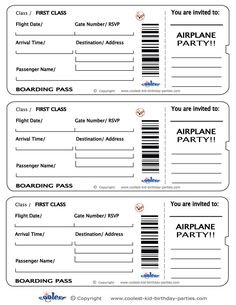 Blank Printable Airplane Boarding Pass Invitations - Coolest Free ...