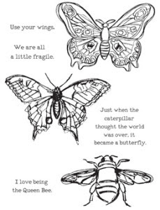 Dina Wakley scribbly insects stamps