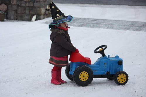 a witch on a tractor!