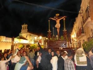 Cristo de Vera Cruz a su paso por carrera oficial en el Viernes Santo moguereño del pasado año 2015.