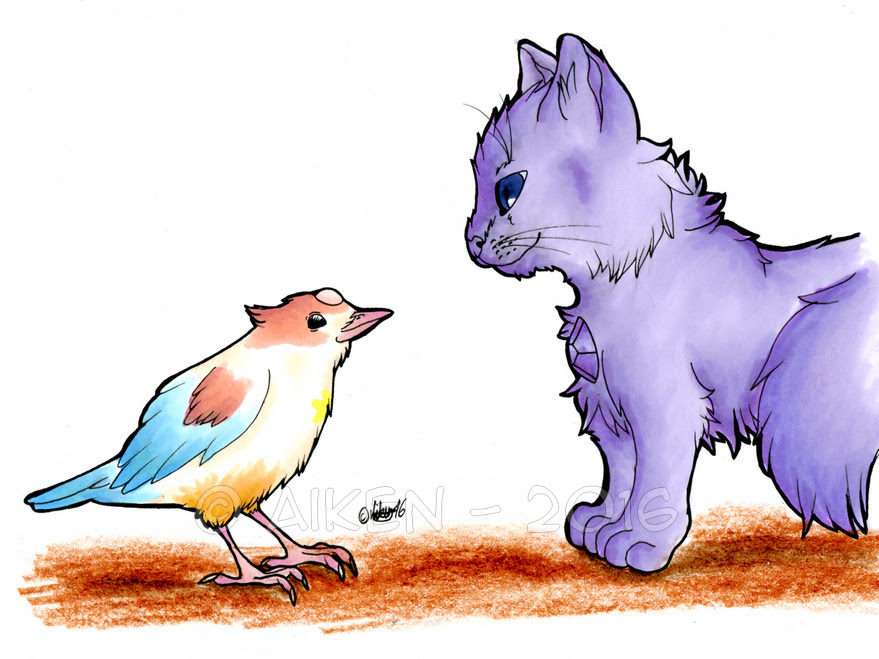 "Pearlmethystbomb 2: 15th day - ""Shapeshifting"" I couldn't decide whether to draw Purple Puma and Pearl or bird!Pearl and cat!Amethyst. @peridorks said that the last one would be cuter, so I drew that..."