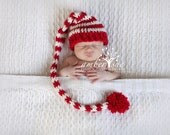 Crochet Baby Hat Christmas Pixie Photo prop Red White Striped free shipping