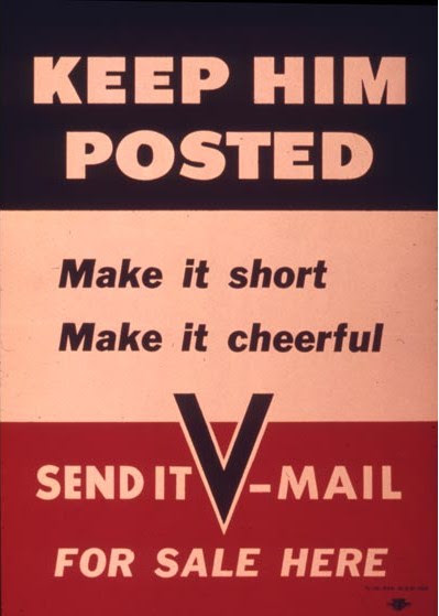 "US poster encouraging use of V-Mail, World War II. Read more: ""Victory Mail in World War II"" on Sarah Sundin's blog"