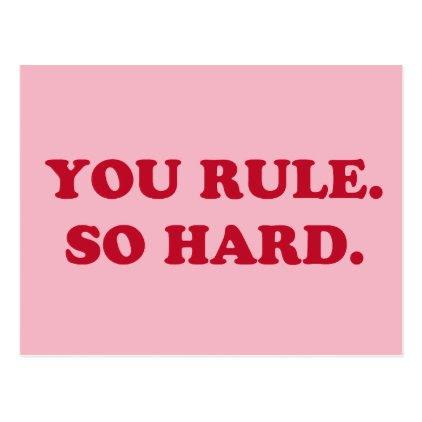 You Rule. So Hard. Retro Colours Postcard