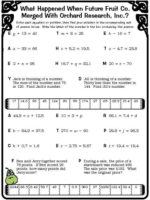 8 Best Images of Pizzazz Worksheet Answer Key  Daffynition Decoder Math Worksheet Answers