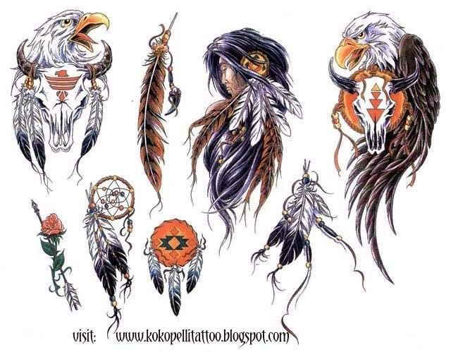 Native American Feathers And Eagle Tattoos Designs