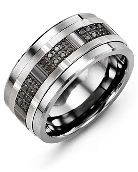 Men's Black Diamonds Wide Wedding Band   MADANI Rings