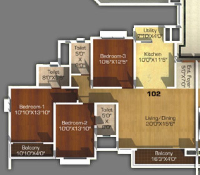 3 BHK Flat - Kitchen 10 feet x 11 feet 5 inches & Living cum Dining 20 feet x 15 feet 6 inches <br>1,215 sq.ft. Carpet - 1,495 sq.ft. Saleable <br> in D, & F Towers (Type 2) in Sangria Towers Megapolis Hinjewadi Phase 3