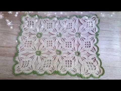 فيديو شرح طريقة عمل مفرش مستطيل سحري متعدد الاستخدامات للطاولات وللسفرة ومفرش سرير الخطوات بالعربى كروشية Multi-use magic rectangle mattress for the isongs and for the bed mattress steps in arabic crochet كروشيه