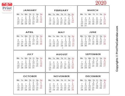 Kalender 2020 Kartun