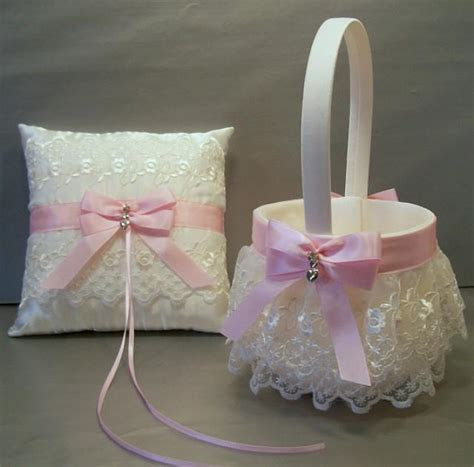Light Pink, Wedding Bridal, Flower Girl Basket And Ring