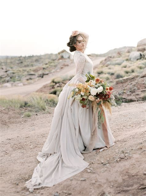 Ball gown wedding dress with sheer long sleeve embroidered
