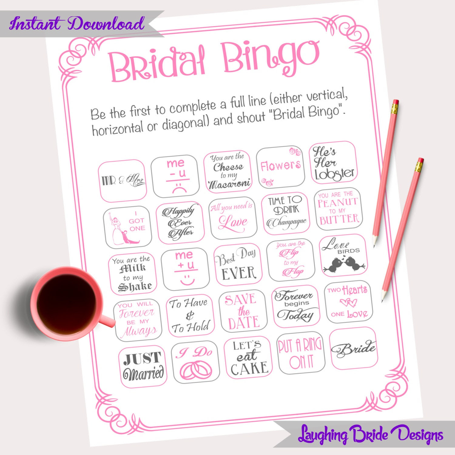 30 Cards Bridal Bingo Shower By Laughingbridedesigns