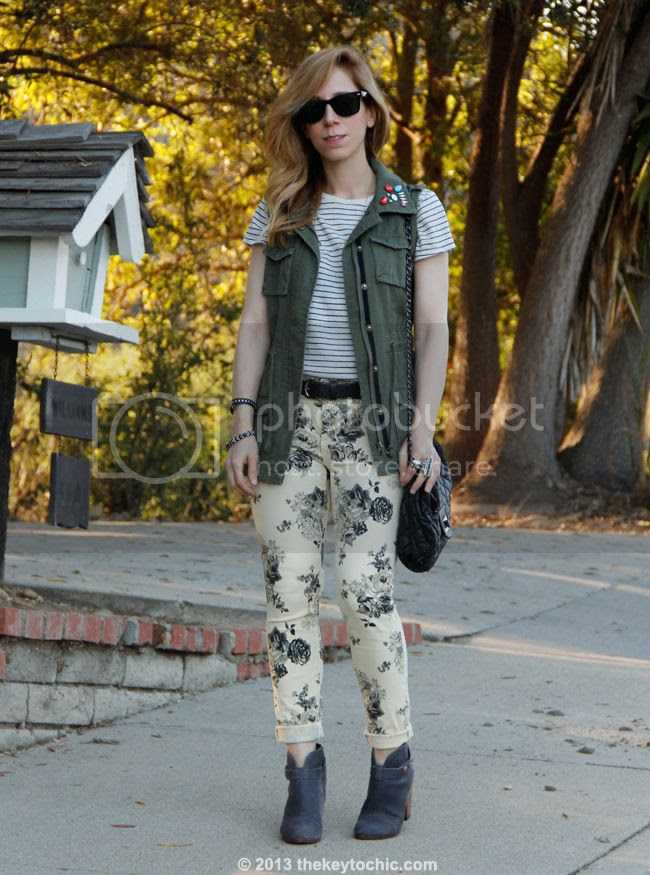 Los Angeles fashion blogger, Forever 21 floral jeans, jeweled military vest, Vince striped shirt, Steve Madden Arieel boots