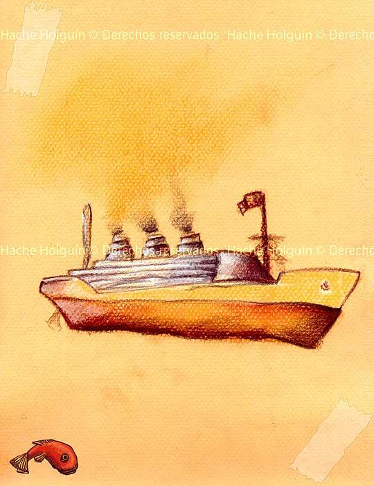 Barco, ilustración de hache holguin