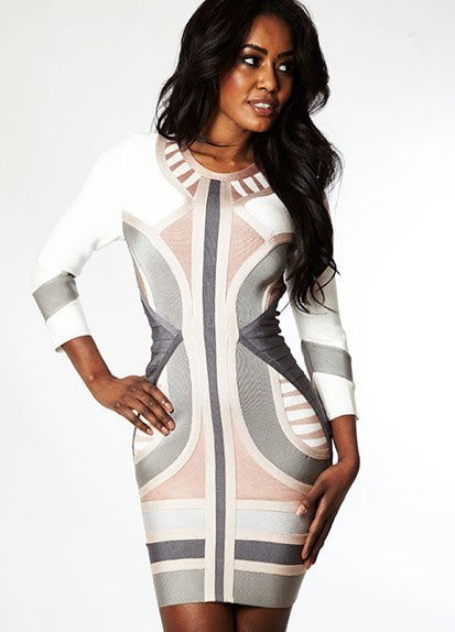 Diagram inches dress white bodycon long sleeve