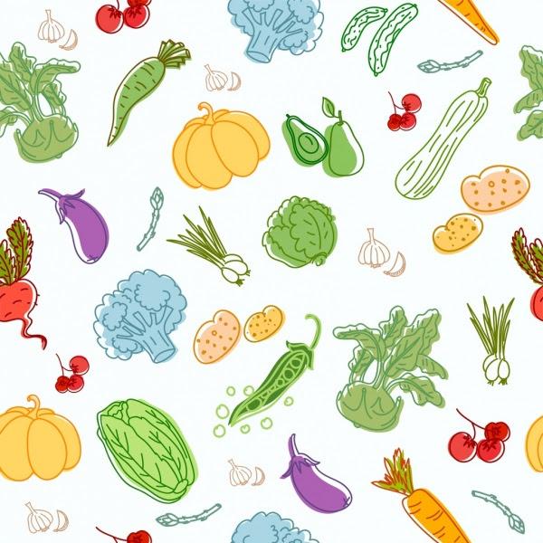 Sayuran Latar Belakang Warna Warni Ikon Handdrawn Sketsa Vektor