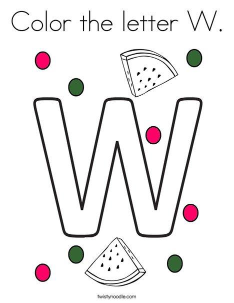 Color the letter W Coloring Page - Twisty Noodle