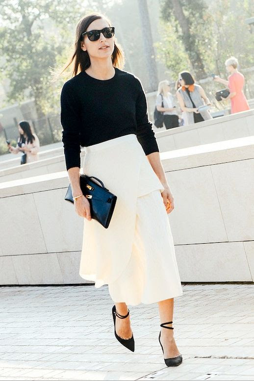 Le Fashion Blog Street Style Sleek Black And White Look Sweater White High Waisted Midi Skirt Simple Clutch Ankle Strap Pumps Via Vogue