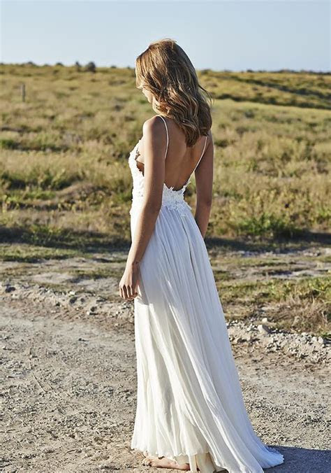 Simple Spaghetti Straps Chiffon Wedding Dresses Appliques